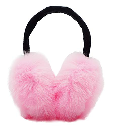 Bienvenu Womens Headband Winter Faux Fur Outdoor EarMuffs Warmers Adjustable Earwarmer,Pink,One Size