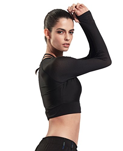 f88f4f9206a9b J-pinno Women s Athletic Mesh Long Sleeve Crop Top Shirt Workout Yoga Dry  Fitness T