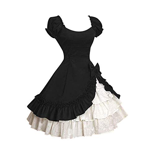 Women's Dresses,Venfamo Cap Sleeve Bow Tie Ruffle Dress Medieval Gothic Lolita Mini Dress Princess Dress Black