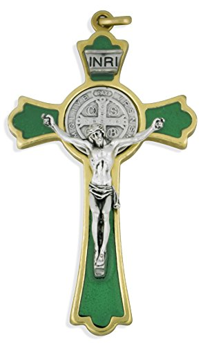(Latin-Style Saint Benedict Cross with Colored Enamel (Gold, Green) )