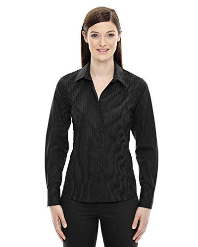 (North End Ladies Cotton Striped Dress Shirt. 78674 - Large - Black / Carbon)