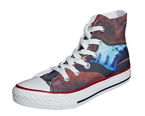 Converse Customized Chaussures Personnalisé et imprimés UNISEX (produit artisanal) style de guitare - size EU34