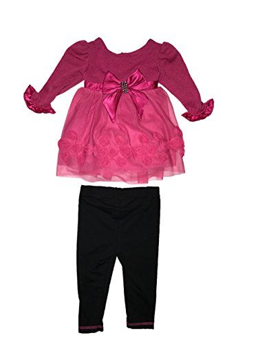 Youngland Baby Girl Rosette Dress & Leggings Set, Fuschia (12 Months) ()