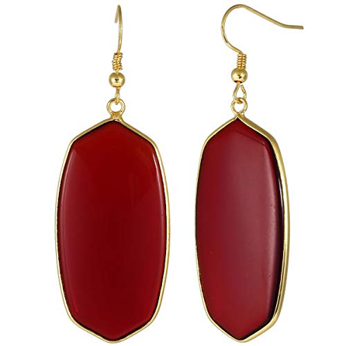 Earrings Tone Sport Gold - TUMBEELLUWA Crystal Quartz Stone Dangle Hook Earrings Oval Gold Plated, Red Crystal