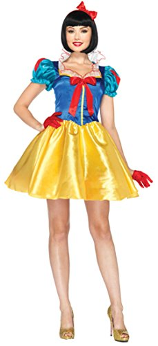 [Leg Avenue Womens Sexy Snow White Disney Outfit Fancy Dress Halloween Costume, M/L (10-14)] (Cheap Adult Disney Princess Costumes)