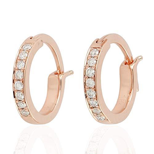 18K Rose Gold Micropave-Set White Diamond Huggie Hoop Fashion Earrings For Women