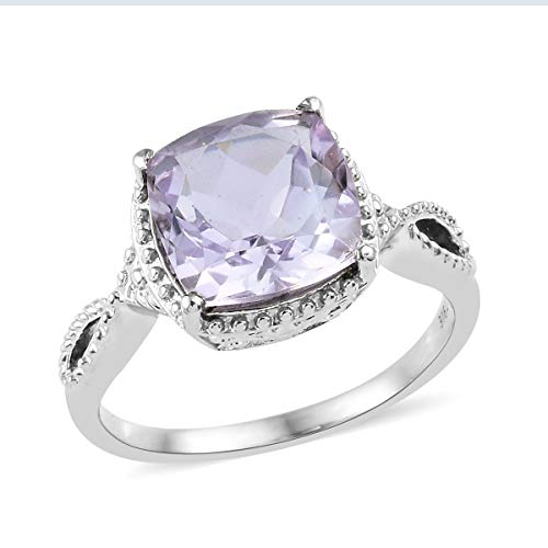 (Shop LC Delivering Joy Solitaire Ring Stainless Steel Cushion Pink Amethyst Gift Jewelry for Women Size 5 Ct 4.1)