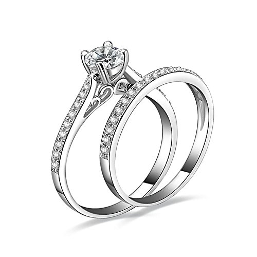 Jewelrypalace Womens 1ct Cubic Zirconia Anniversary Bridal Wedding Band Engagement Ring Sets 925 Sterling Silver Size 6