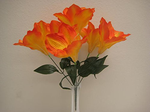 6 Bushes ORANGE Amaryllis Artificial Silk Flowers 16