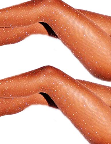 DancMolly Sparkle Rhinestone Fishnet Stockings Crystal High Waist Mesh Hollow Out Pantyhose for Women Tights Set (One Size, 2 Pair Nude Rhinestone Fishnet Stockings)