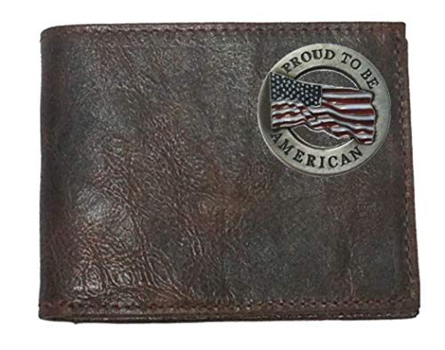 Custom in Chocolate Wallet made Leather fold the Flip Proudly Proud USA American ID with Harness Bi EOw0Or