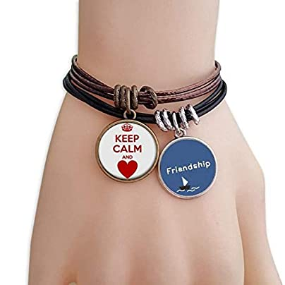 YMNW Quote Red Keep Calm And Love Friendship Bracelet Leather Rope Wristband Couple Set Estimated Price -