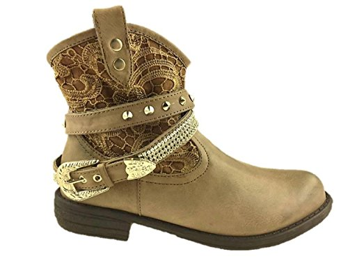 LADIES PULL ON ANKLE COWBOY BOOTS BUCKLE RINESTONE DETAIL SIZE 4-8 NEW