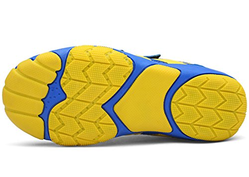 DADAWEN Kid's Breathable Outdoor Hiking Sneakers Strap Athletic Running Shoes Blue/Yellow US Size 13 M Little Kid by DADAWEN (Image #4)