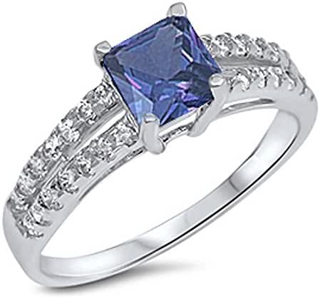 Princess Cut Simulated Tanzanite & Cubic Zirconia .925 Sterling Silver Ring Sizes 4-10
