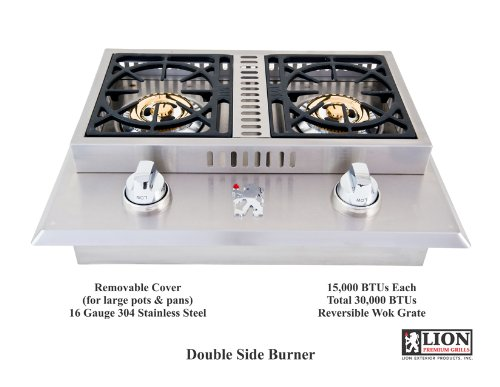 Lion Premium Grills L1707 Propane Gas Double Side Burner, 26-3/4 by 20-1/2-Inch by Lion Premium Grills