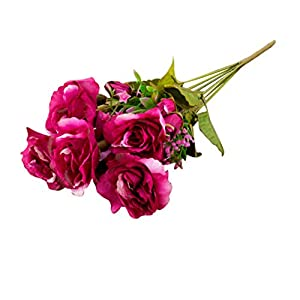 YHCWJZP 1 Bouquet Artificial Fake Rose Flower Bud Home Wedding Garden Table Decoration - Wine Red 54