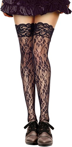 Floral Lace Thigh High, Black-OS