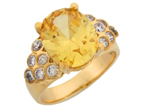 14k Yellow Gold Oval Cut Simulated Citrine Bezel Set White CZ Accent Ladies (Gold Bezel Set Ring)