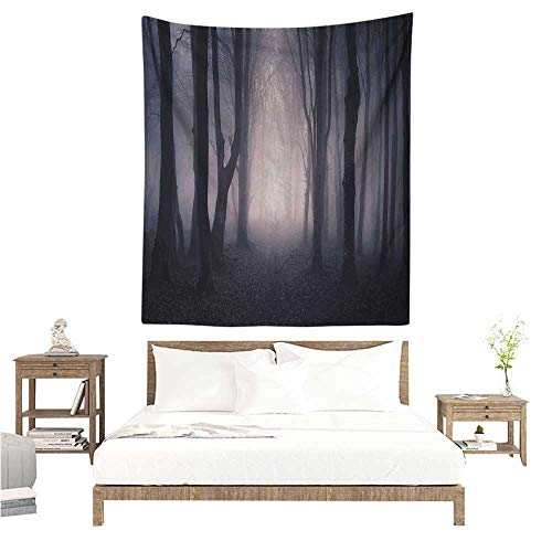 Agoza Forest Decorative Tapestry Path Through Dark Deep in Forest with Fog Halloween Creepy Twisted Branches Picture Tapestry for Home Decor 70W x 84L INCH Pink Brown ()