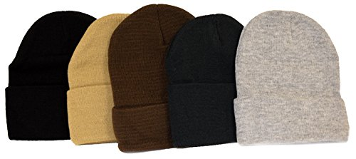 Great Deals! 5 Knit Beanies Black, Khaki, Brown, Hunter Green, & Gray (Beanie Khaki Brown)