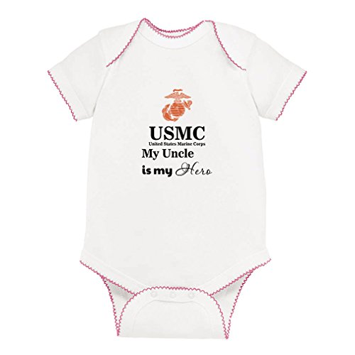 Cute Rascals USMC My Uncle is My Hero Baby Kid Picot Fine Jersey Bodysuit White/Pink 6 Months
