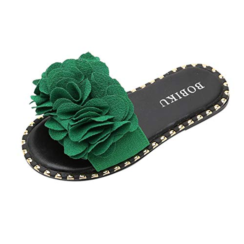 - Tantisy ♣↭♣ Baby Girls Summer Casual Slippers/Kids Sandals Non-Slip Water Shoes/Big Flower Candy Color Flat Shoes Green