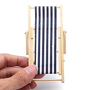 ZXYAN Sedia da Spiaggia Pieghevole in Legno in Miniatura con Accessori per mobili da Esterno a Strisce Blu/Rosso 7 spesavip