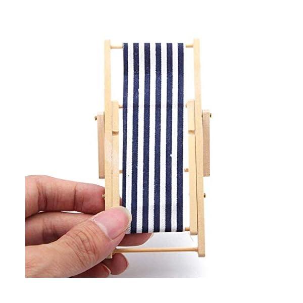 ZXYAN Sedia da Spiaggia Pieghevole in Legno in Miniatura con Accessori per mobili da Esterno a Strisce Blu/Rosso 1 spesavip