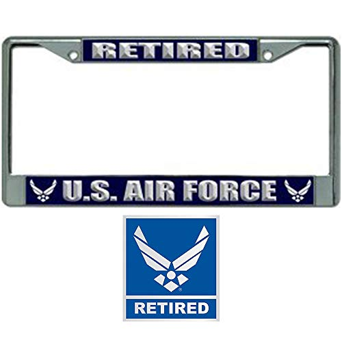 Air Force Plate - US Air Force Retired License Plate Frame Bundle with Air Force Retired Decal/Sticker