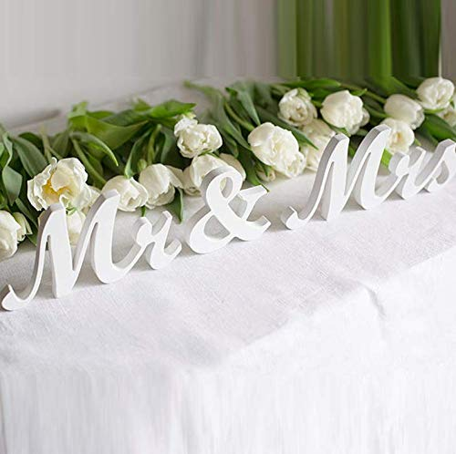 Love Decor Studio _ 1968 White Mr & Mrs. Letters Wedding Table Decoration, freestanding White Mr and Mrs Signs for Sweetheart Table ()