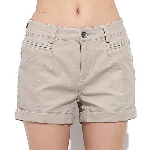 (NBOBA Women's Shorts Summer Two Designs Cotton Shorts Women Plain Denim Shorts Embroidery Short Lady,I was Back,30)