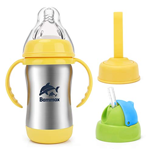 Bammax Baby Sippy Cup, 3 in 1 Multi-Function Baby Kids Water Cup, Stainless Steel Non-Toxic Non-Spill Infant Bottle with Silicone Straw, Heat Preservation