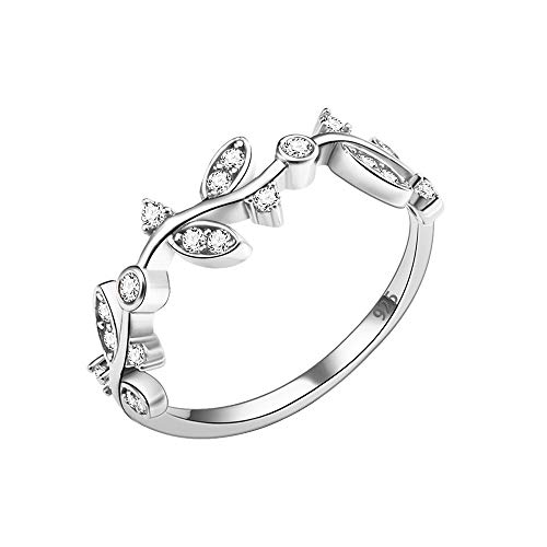 Lavencious 925 Sterling Silver Curved Olive Branch with Clear CZ Stones Wedding Band Promise Ring for Women Size 4-10