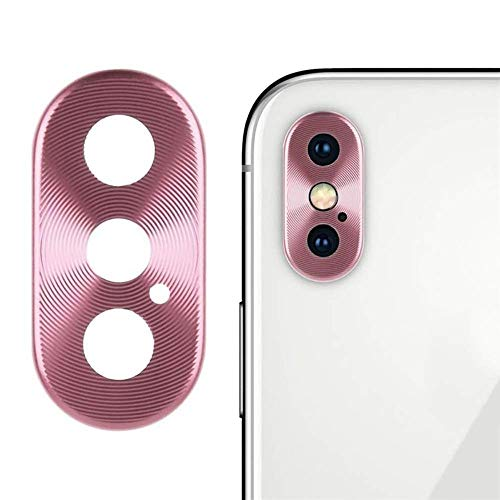 Sikye Metal Aluminum Rear Camera Lens Case Cover Protector Ring + Film for iPhone Xs/XS Max (iPhone Xs/XS Max, Pink)
