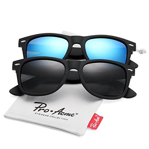 Pro Acme (Pack of 2) Polarized Wayfarer Sunglasses for Men Women (Black Lens +Ice Blue Mirrored - Sunglasses Glare Reducing