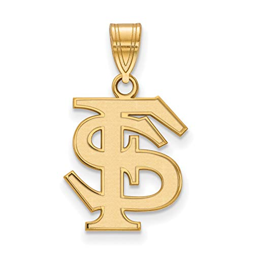 (14k Yellow Gold Florida State University Seminoles School Letters Logo Pendant 16x14mm)