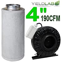 Yield Lab 4 Inch 190 CFM Inline Duct Fan With 4 Inch Carbon Filter for Grow Room Intake And Exhaust Ventilation System