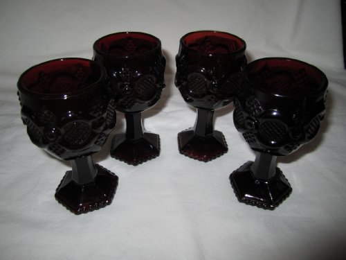 Avon Ruby Cape Cod Water Glassware Goblet (Set of 4)