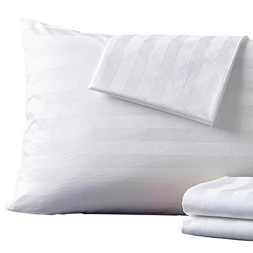 (Shunjie.Home 4 Pack Zippered Pillow Protectors, 400 Thread Count 100 Percent Egyptian Cotton White Pillow Covers, Control Zippered Pillowcase Protector (Standard))