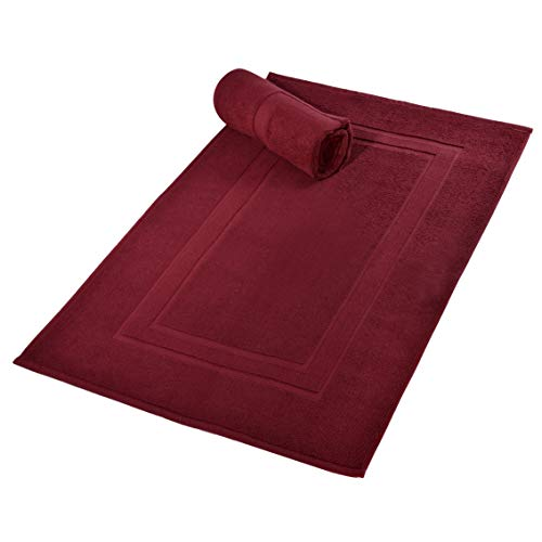 GLAMBURG Premium Cotton 20×32 inch 2-Pack Bath Mats – 100% Ringspun Cotton – Luxury Hotel & Spa Quality – 800 GSM – Durable Soft Highly Absorbent – Machine Washable – Burgundy