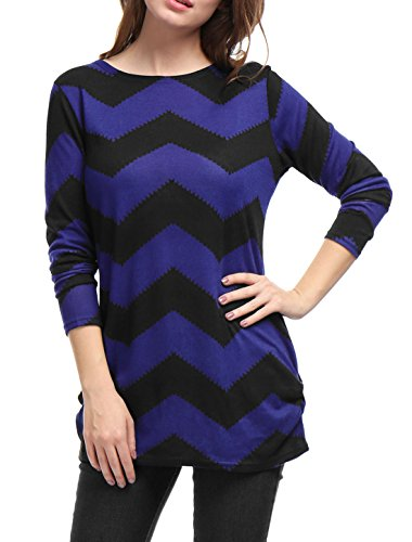 Zig Zag Knit Top (Allegra K Women's Zig-Zag Pattern Knitted Relax Fit Tunic Shirt XL Black Blue)