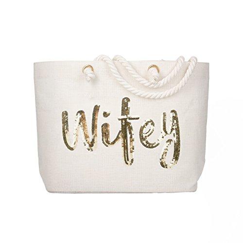 - ElegantPark Wifey Bride Tote Bag Wedding Bachelorette Bridal Shower Gifts Jute Gold Sequin with Interior Pocket