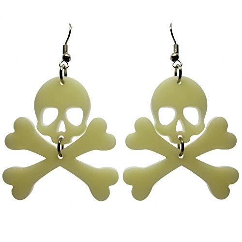 Jolly Roger Skull and Crossbones Dangle Earrings, Goth Pirate Costume Earrings