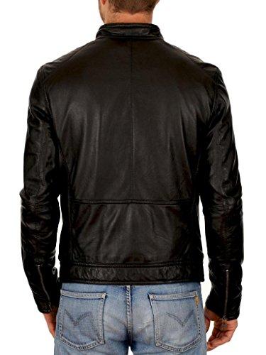 Pelle Auk028 Outwear Da Slim Fit Giacche Uomo Black Cappotto Biker In Moto Giacca Pzxw15E