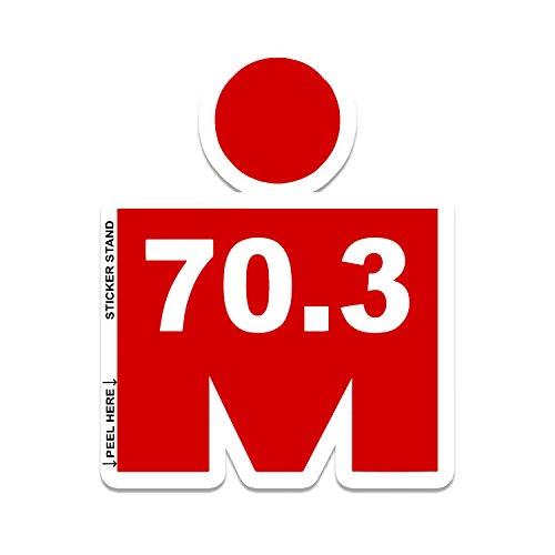 "RED Mdot Ironman Triathlon 70.3 Vinyl Decal Bumper Sticker 4""x5"""