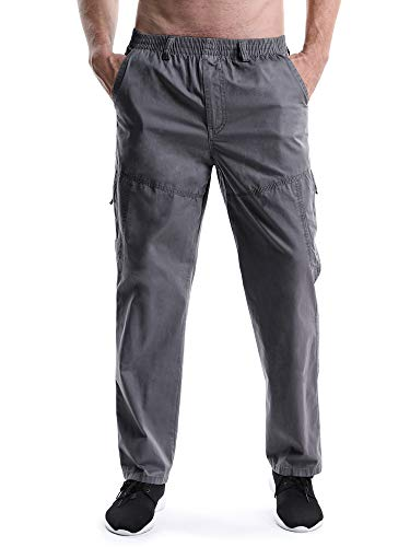(Men's Elastic Waist Relaxed Straight Leg Baggy Pull On Cargo Pants Dark Grey Tag 5XL - US 42)