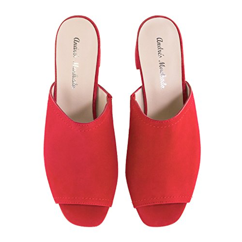 Andres Machado Amaya - Muli In Pelle Scamosciata - Made In Spain .eu 32 A 35/42 A 45 Ante Red