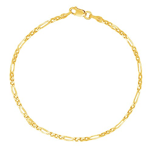 - Sterling Silver or Gold-tone Italian Figaro Anklet or Bracelet 2.1mm Width
