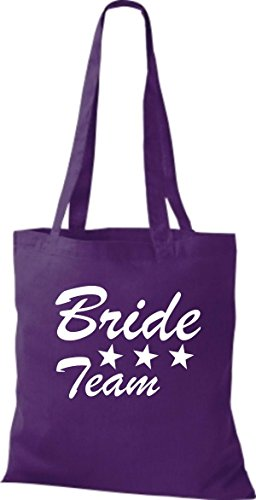 Shirtstown Stoffbeutel JGA Bride Team viele Farben lila aGWgU
